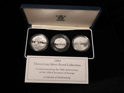 Royal Mint D-Day Commemorative 1994 Three-Coin Silver Proof Collection