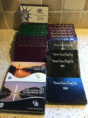 Lot Of 22 US Mint Proof Sets 1980,81,81,82,84 Thru 1999, 2015 and 2016