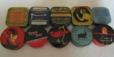 Vintage Typerwriter Ribbon Advertising Tins Lot of of 10