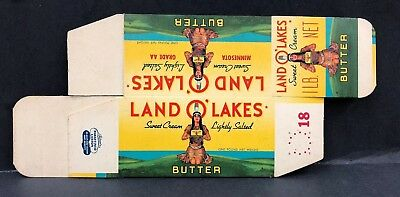 Vintage Land O' Lakes 1 Lb Butter Carton Waxed Cardboard Unused Original Decor