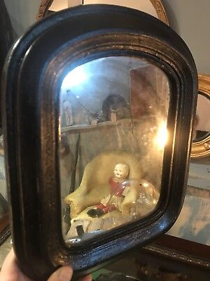 Antique Black Tombstone American Mercury Mirror 19th Century Small Medium