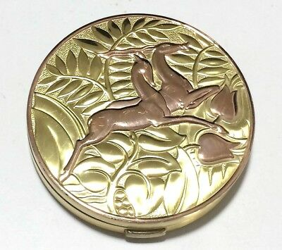 Art Deco Evans Sterling Silver Jumping Gazelles in Ferns Compact Gold Wash 1018s