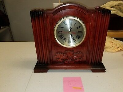 Vintage Art Deco Battery Op Mantle Clock Wooden Made in China Not Working #111