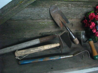 lot of 5 rustic primitive vintage rusted garden hand tools trowel claw wood