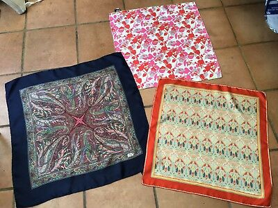 Liberty. 3 Pretty  Vintage Silk Scarf -Paisley,ianthe,floral