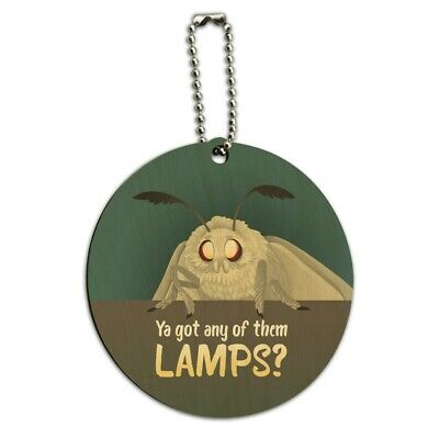 Moth Lamp Meme Round Wood Luggage Card Suitcase Carry-On ID Tag