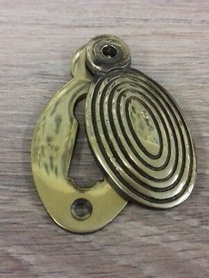 Antique Brass Beehive Regency Escutcheon Oval Covered Key hole cover unlacquered
