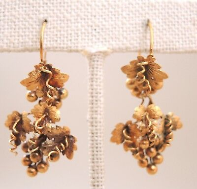 Fine Antique French Earrings Solid 15k Gold Grape Cluster Leaf Victorian 19th-C