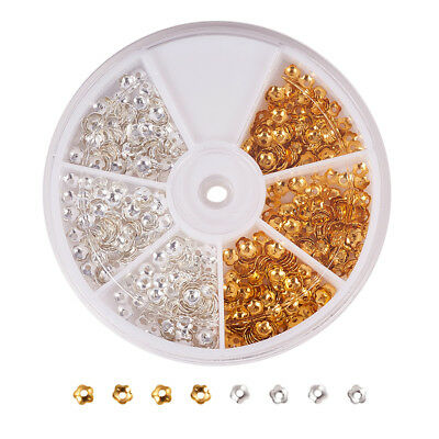 850 Gold Silver Plated Flower Bead Caps Spacer Beads DIY Charms Findings 4mm