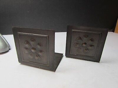 Vintage Arts And Crafts Metal Pair Bookends For Small Books