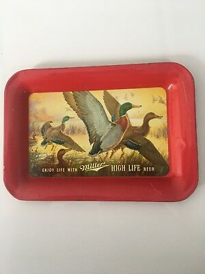 Vintage 1950 MILLER HIGH LIFE BEER Metal Tip Tray DUCKS Hunting Advertising Bar