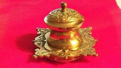 Vintage Brass Inkwell Single Well ca. 1900's