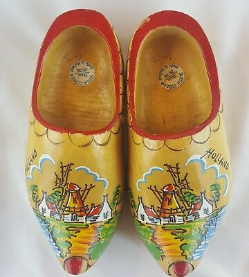 Dutch Wooden Shoes Hand carved Hand Painted Clogs Size 29/30 Holland