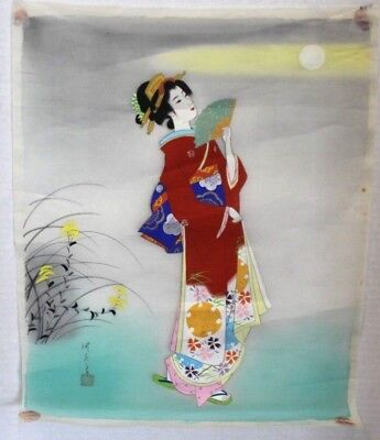 Beautiful Antique Japanese Japan Silk Paintings Geisha with fan signed