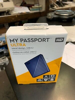 WD My Passport Ultra 4Tb Portable Storage Blue Brand New In Box