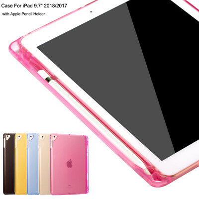 """For Apple Pencil iPad 6th Gen 2018 2017 9.7"""" Clear Case Cover With Pencil Holder"""