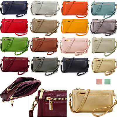 Ladies Small Clutch Bag Multi Compartment Cross Body Purse Wallet Wrist Strap