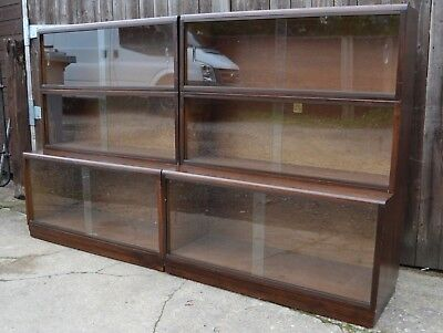 Pair of Simplex Oak Sectional Bookcases Library Haberdashery Glazed Display Unit