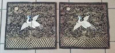 pair fine chinese antique silk embroidered rank badge