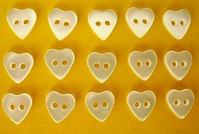White Heart Buttons Pearlised Sheen ( Small )  x 15
