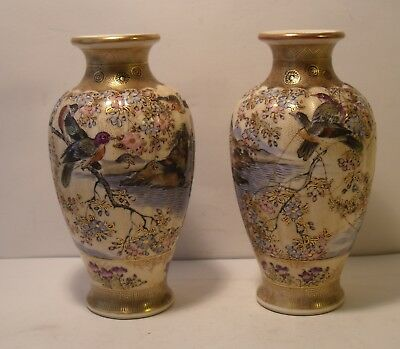 "Pair Of  5"" Miniature Very Intricate Japanese Satsuma Vases Meiji Period (1 A/F)"