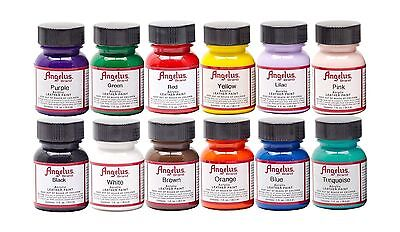 Angelus Acrylic Leather Paint Starter 12 Multicolor Kit