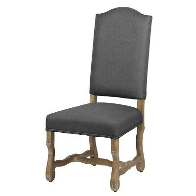 "45"" Tall Dining Chair Solid Oak Wood Frame Low Seat Steel Grey"