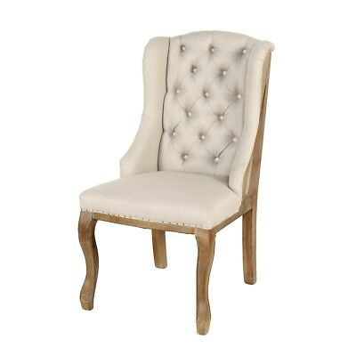 "42"" Tall Wing backed Dining Chair Solid Wood Frame Button Tufted High Back"