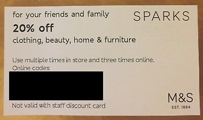M&S 20% off clothing, beauty and home voucher code