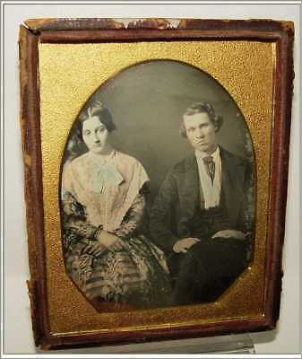 Daguerreotype Photo 1/4 Plate Not Happy At All Man & Wife Colored Lace Shawl