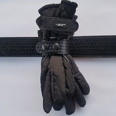 BasketWeave Duty Belt Gloves holder, Medium to Heavy padding gloves, Black Sps.