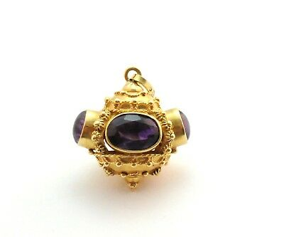 Antique Etruscan Revival Amethyst Watch Fob Pendant 18k Yellow Gold
