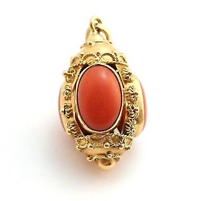 Antique Etruscan Revival Cabochon Coral Watch Fob Pendant 18k Yellow Gold