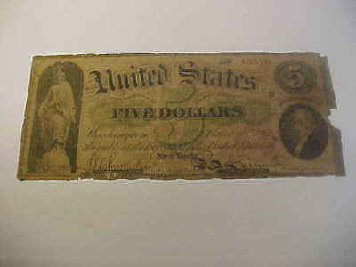 1862  $5 Legal Tender United States Large Currency  Rare Note Fr # 62