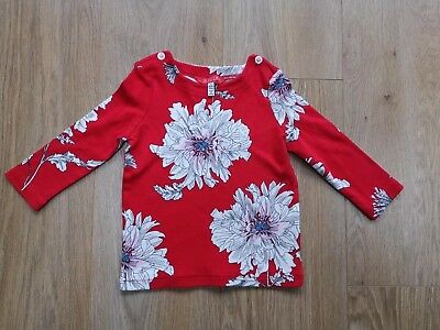 Joules Girls Aged 2 Years Top Red With Flowers