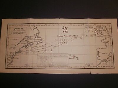 White Star Line Log Abstrac And Track Chart Rms Adriatic