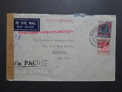 Singapore 1941 Censor Cover to USA / 1$ Stamp Damaged - Z8596