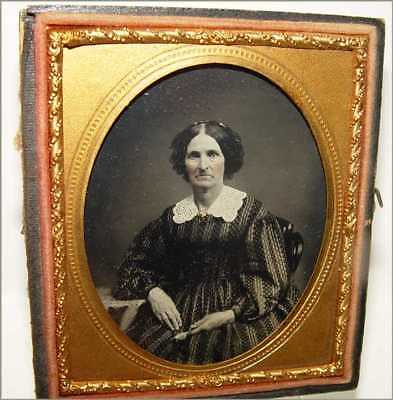 Ambrotype Photo 6th Plate Older Woman Striped Dotted Dress Large Collar