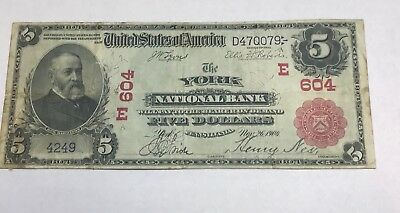 York Pennsylvania, national bank , $5  1902 red seal , VF rare !