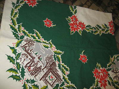 Vintage Print Christmas/Holiday Tablecloth 50 x 62 Carolers,Sleighs,Farmhouse++