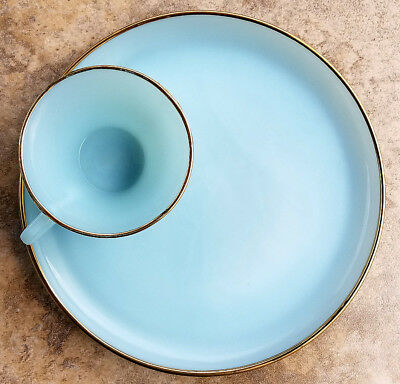 """Vintage Fire King Oven Ware*Azurite Blue-Gold Plate Trim*12 Plates 9""""-7 Tea Cups"""