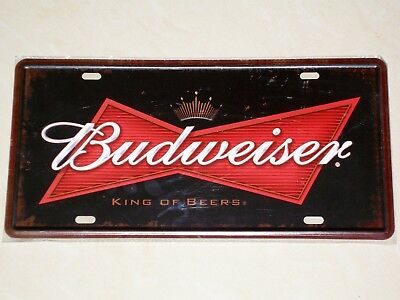 Budweiser Beer USA - KING OF BEERS - Novelty Metal Number Plate / Sign - Bud