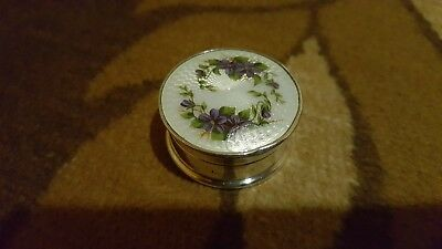 Antique 925 Silver Gilt And Guilloche Enamel Pill Box
