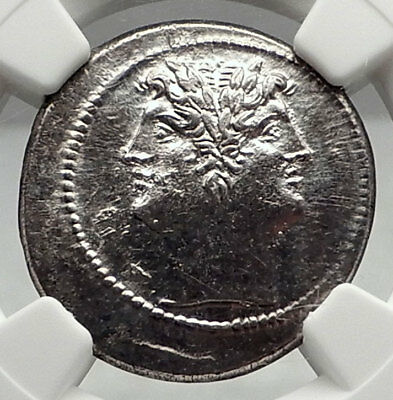 Roman Republic QUADRIGATUS Didrachm Authentic Ancient Coin JANUS NGC ChAU i72862