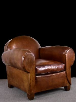 Classic 1930's French leather club chair