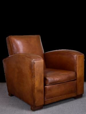 1950's French leather club chair with square back