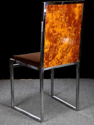 Four vintage burl wood and chrome dining chairs