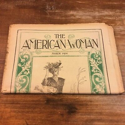 The AMERICAN WOMAN 1908 March MAGAZINE Augusta ME Maine Antique Newspaper