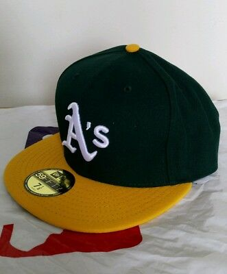 BRAND Men Oakland Athletics New Era Green/Yellow Home Authentic Size 7 1/8 - Cap