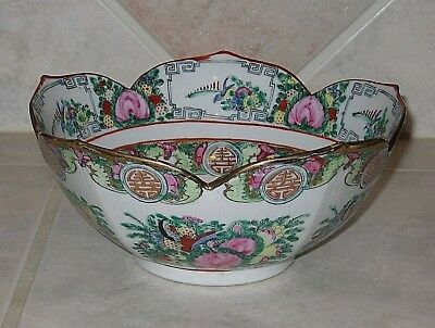 """Excellent Chinese Rose Medallion 10"""" Lotus Bowl-Very Unusual-Free Shipping"""
